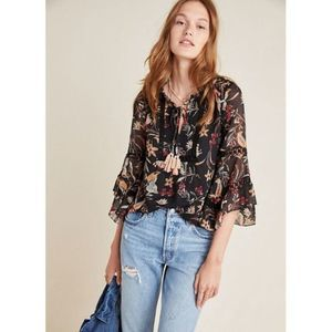Anthro Maeve Odette Floral Peasant Blouse Small
